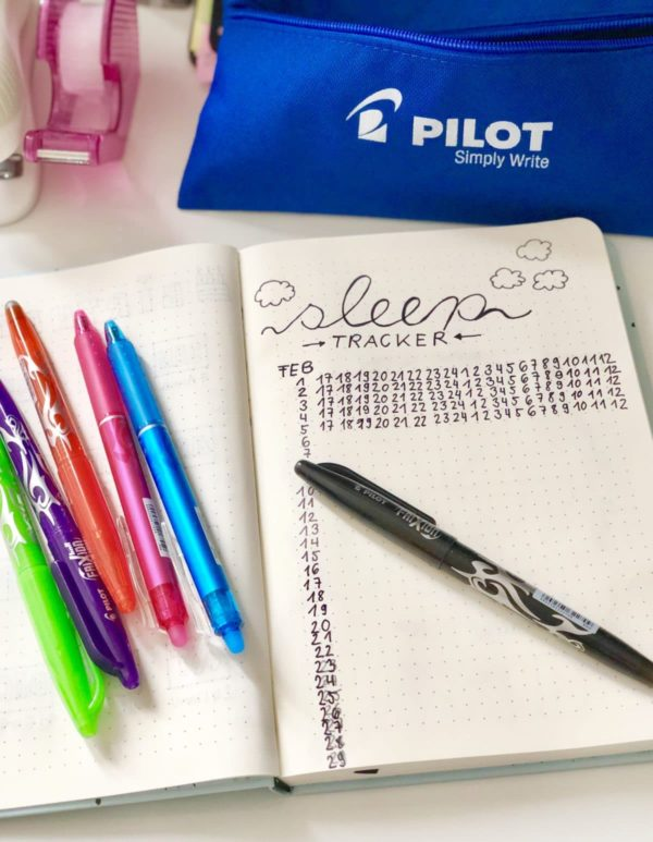 Schlaf Trecker für das Bullet Journal erstellen mit Pilot FriXion Stiften