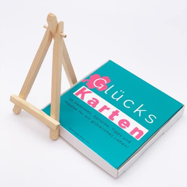 Gluecks Karten und Mini Staffelei