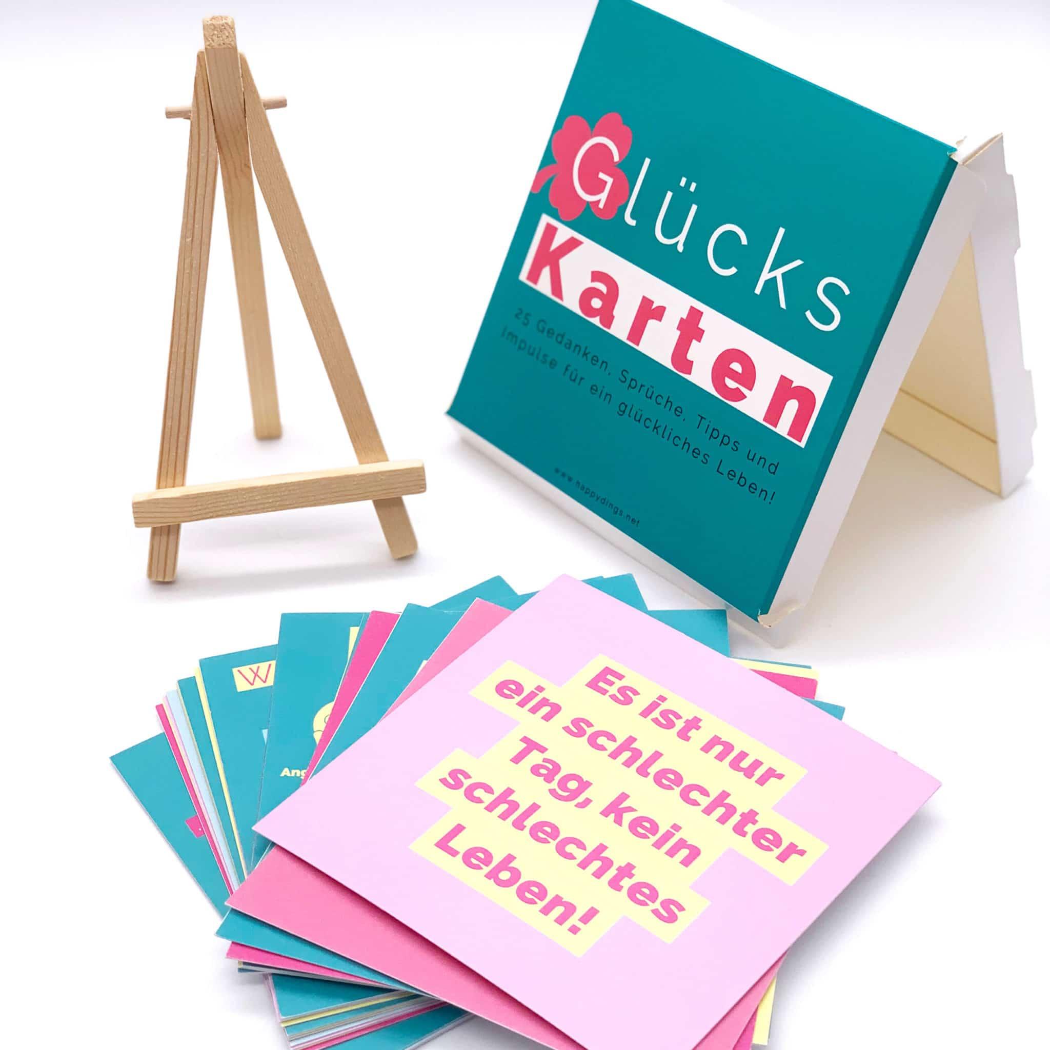 Gluecks Karten mit Spruechen und Mini Staffelei